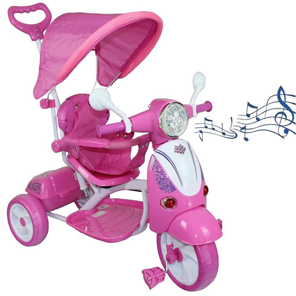 Triciclo per Bambini Vespina rosado Parasole Maniglia Direzionale e Gioco Musicale
