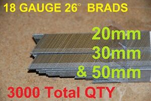 18 Gauge Angle Brads 26 Degree Assorted Length 20 / 30 + 50mm 3000 Total QTY