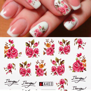 Hot-2x-Transfers-Rink-Roses-Flowers-Nail-Art-Water-Decals-Stickers-Gel-Polish