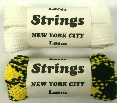New from 80s Vintage 45 inch` 2 pair Shoelaces Shoe Laces  Fat Flat