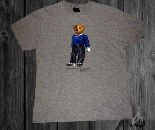 Vintage 1990 Polo Bear Golfing Gray T shirt men Size S-2XL Reprint