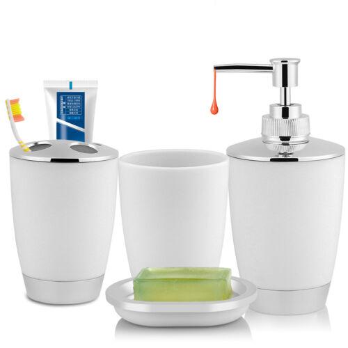 4x Bathroom Accessories Set Cup Toothbrush Holder Soap Dish Dispenser Bottle BT