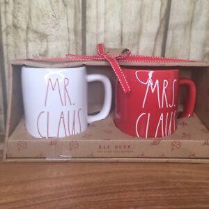 RAE-DUNN-Christmas-White-amp-Red-MR-CLAUS-MRS-CLAUS-2-Mugs-New