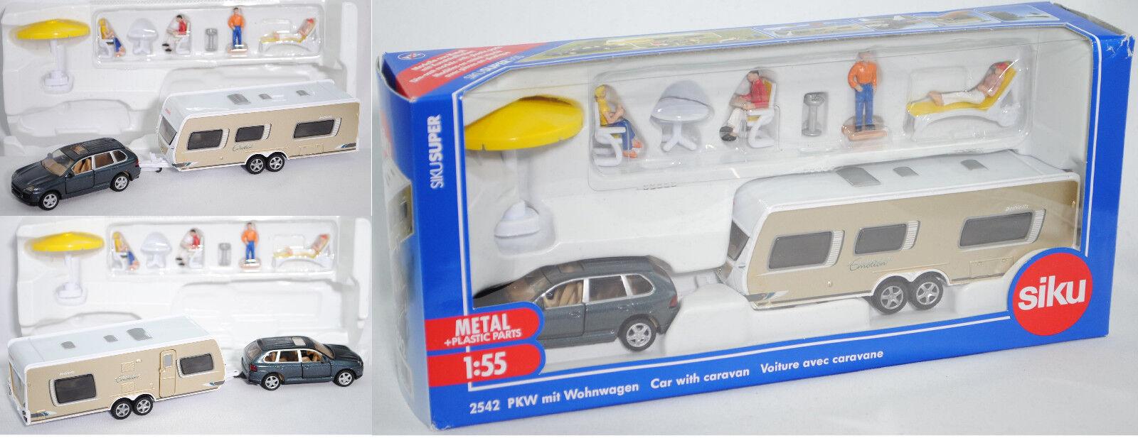 Siku Super 2522 Porsche Cayenne Turbo mit Wohnwagen, ca. 1 57