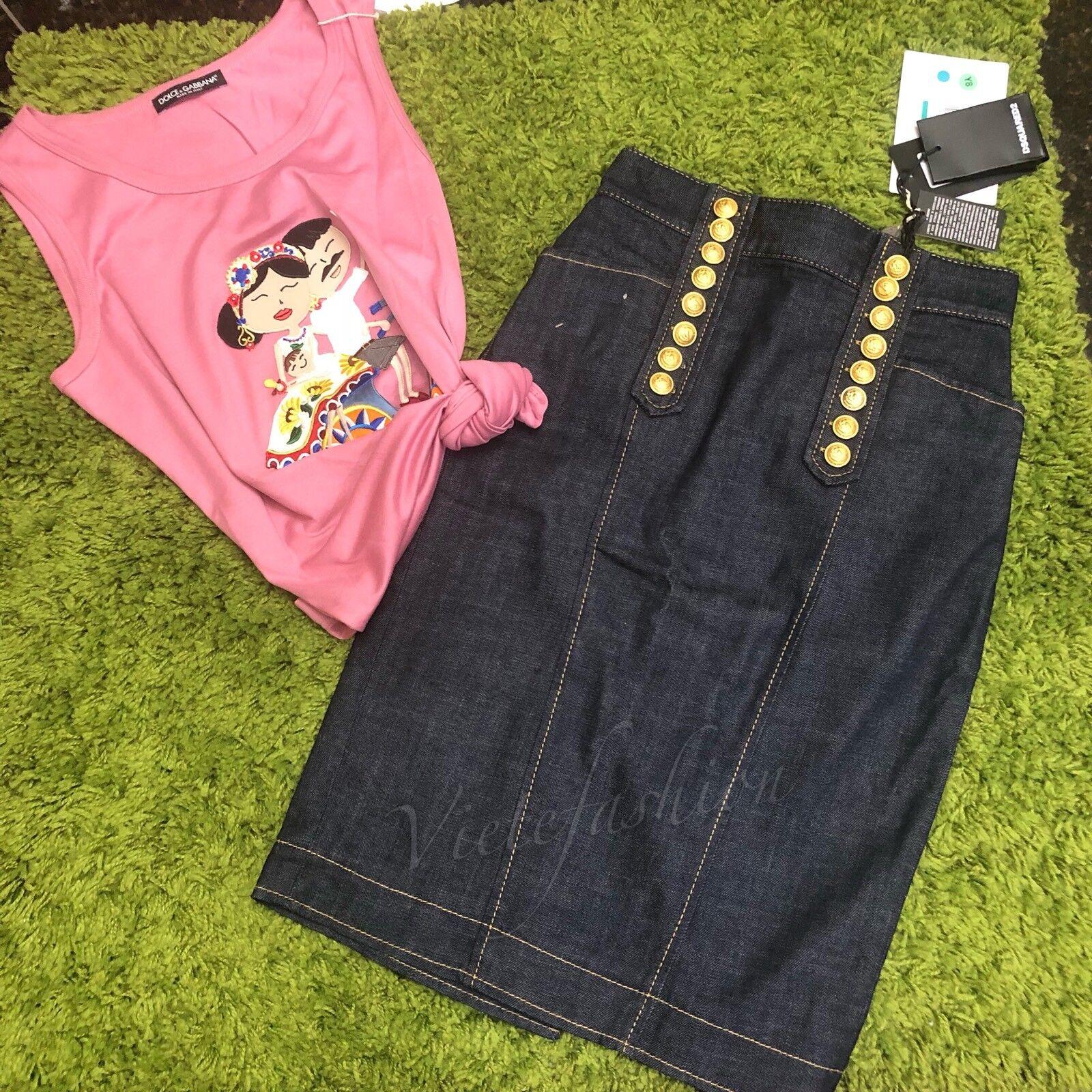 NWT  Dsquared2 Denim Button Pencil Skirts size 38IT
