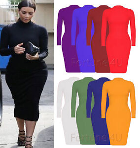 Women-Ladies-Roll-Turtle-Polo-Neck-Long-Sleeve-Plain-Stretch-Bodycon-Midi-Dress