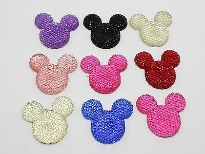 20 Mixed Color Flatback Resin Dotted Rhinestone Gems Mouse Head Cabochon 30mm
