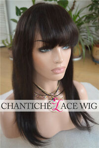 Human Hair Lace Front Wig Black Women Brazilian Remy Natural Straight With Bangs