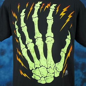 vintage-80s-SKELETON-HAND-CARTOON-T-Shirt-MEDIUM-LARGE-bone-skeleton-horror-thin