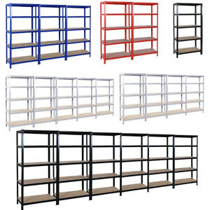 Extra-Wide-Black-Red-Blue-MDF-Metal-5-Tiers-Garage-Storage-Racking-Shelving-Bay