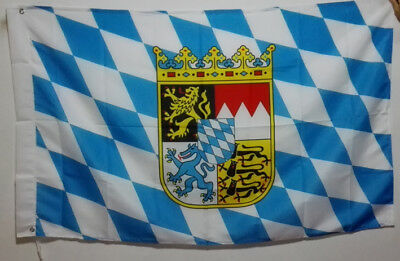 3/'X5/' Flag Banner Germany Bavaria with Coat of Arms Brass grommets 90*150cm