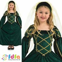 GREEN MEDIEVAL QUEEN TUDOR GIRL BOOK WEEK- 4-12 kids childs fancy dress costume