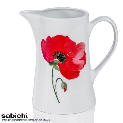Sabichi Porcelain Poppy Water Jug 1.5L 1500ml Table Servewere Party Dinnerware