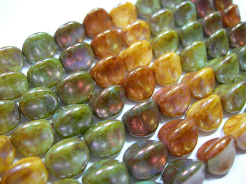 15 10mm Rainbow Picasso Luster Large Pinch Czech Glass Beads