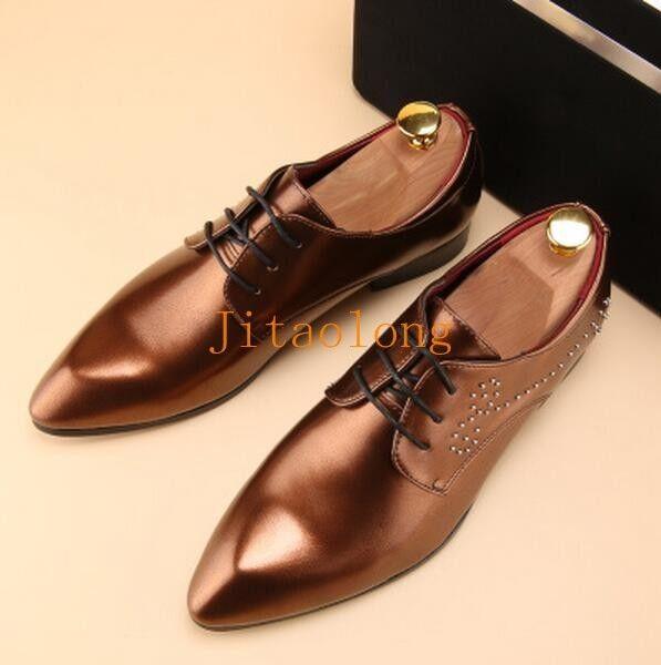 Unique Men's Patent Leather Slip On Loafer Dress shoes Lace Up Rivet decor shoes