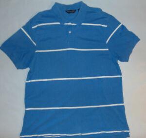 Roundtree-amp-Yorke-Mens-Short-Sleeve-Polo-Shirt-Blue-Stripes-Size-XL-X-Large