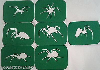 Pack of 7 spiders Vinyl Spider Glass Etching and Glitter Glass Stencils