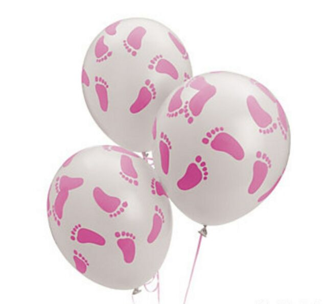 BABY SHOWER PINK FOOTPRINTS LATEX BALLOONS (LOT OF 12) Nice Accent Decor