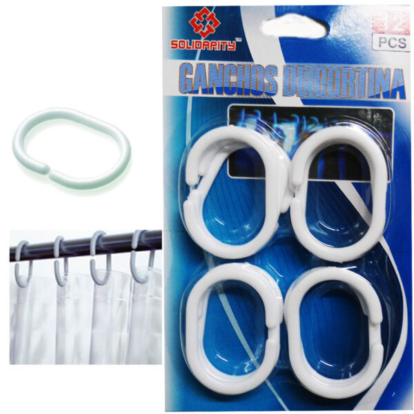 12 Shower Curtain Hook C Shape Plastic White Ring Set Pack Bathroom Bath Rod Diy