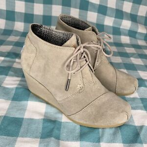 Toms Kala Taupe Suede Wedge Lace Up