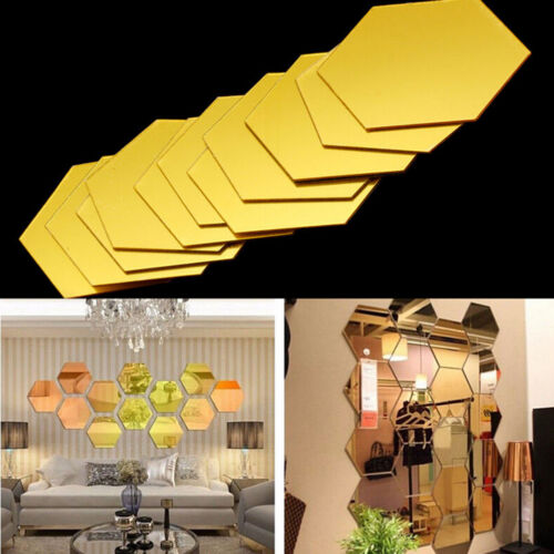 3D Hexagonal Miroir Stickers Muraux Amovible Autocollant Maison Art DIY Décor