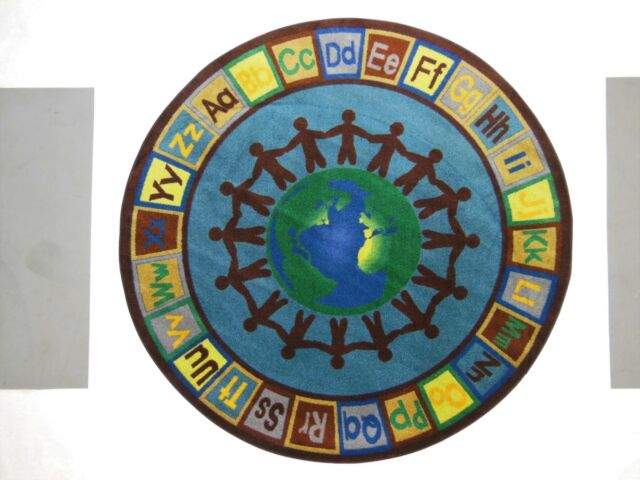 """6'.6"""" ROUND EARTH TONE ALPHA WORLD Educational Rug Schools Day Care Kids Room ."""
