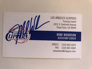 MIKE WOODSON autograph LOS ANGELES CLIPPERS Indiana Hoosiers business card
