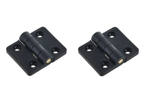 2 x Black Plastic Hinge With Knurled Brass Pin Cabinet Truck Trailer Cupboard