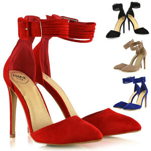Womens-Stiletto-High-Heel-Pointed-Pumps-Ladies-Belted-Ankle-Strap-Court-Shoes