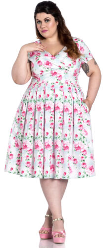 Hell Bunny NATALIE Vintage ROSES Floral SWING DRESS Kleid Plus Size Rockabilly
