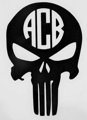 Skull Initials Monogram Cups Laptops 12 COLORS Car Window Vinyl Decal Sticker