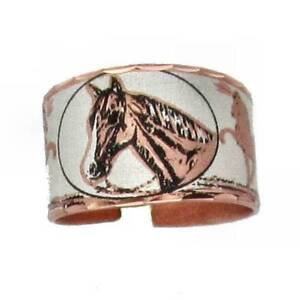 Solid-Copper-Ring-Horse-Head-Silver-Handmade-Western-Rodeo-Jewelry-Cowgirl-Band