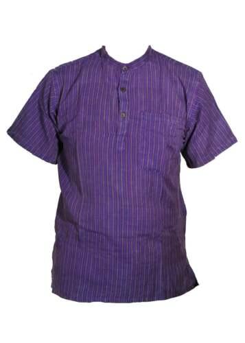 Short Sleeved Stonewashed Striped Lightweight Grandad Shirt Kurta sizes upto 5XL