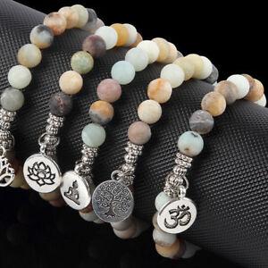 Matte-Amazonite-Stone-Lotus-Buddha-Chakra-Mala-Bead-Yoga-Bracelet-Charm-Jewelry