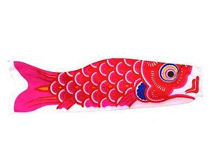 Japanese 19 5 red koi nobori nylon carp wind sock fish for Japanese fish flag