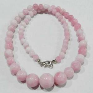 Beautiful-Natural-6-14mm-Pink-Snowflake-Jade-Gemstone-Round-Beads-Necklace-18-034