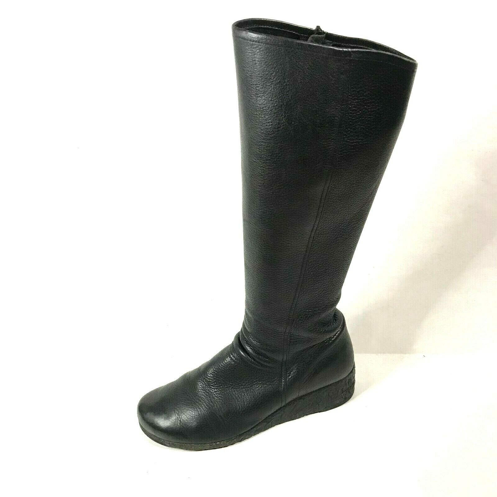 Arche Ln Tall Wedge Boots Size 41 Black Leather ASIS