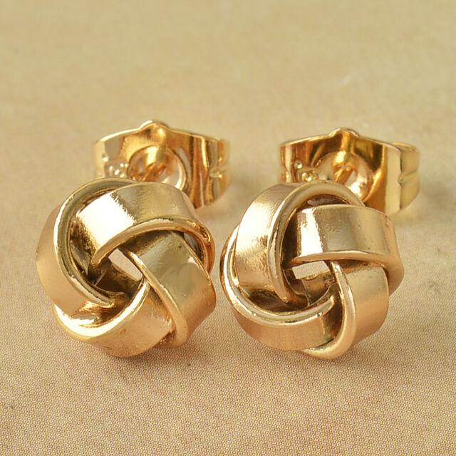 Fashion Earings Yellow Gold Filled Cute Womens Love Stud Earrings Free Shipping