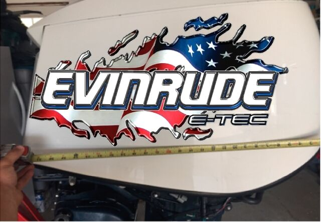Evinrude V6 E-tec USA Tear 115-300 Blue Decal Kit