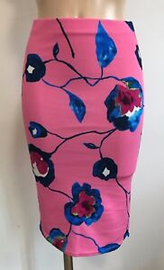PINK-BLUE-FLORAL-CASUAL-SCUBA-PENCIL-TUBE-WIGGLE-STRETCH-SKIRT-SIZE-8-20