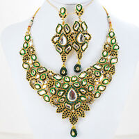 Indian Kundan Cz Gold Plated Designer Bridal Fashion Necklace Earrings Set