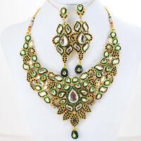 Indian Kundan Cz Gold Plated Designer Bridal Fashion Necklace Earrings Set
