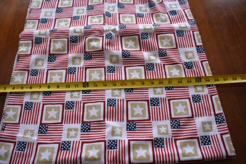 By 1//2 Yd D880 Patriotic Red White Blue Gold Quilt Cotton Flags /& Stars U.S