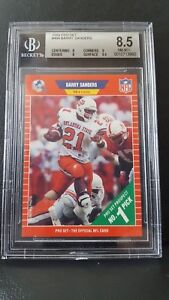 Details About 1989 Pro Set 494 Barry Sanders Rc Bgs 85 Rookie Card