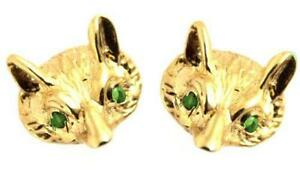 Earrings Fox Head 9ct Gold Studs with Emerald Eyes Hand Crafted