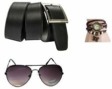Combo of Black Belt and Sunglass Aviator Black with Free Watch