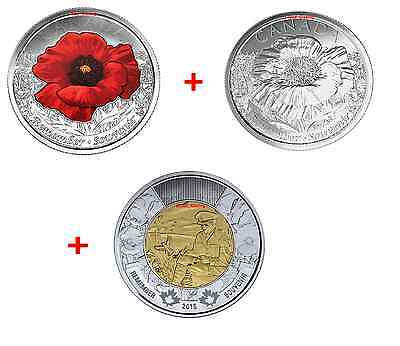 Toonie and Poppy Quarter 2015 Remembrance Coin Pack Flanders Fields and Poppy