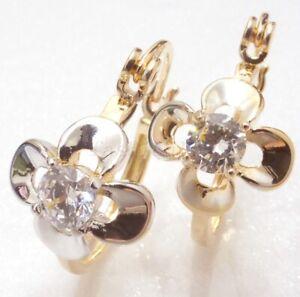 New-18K-Yellow-Gold-Plated-CZ-Cubic-Zirconia-Lady-Flower-Hoop-Huggie-Earrings