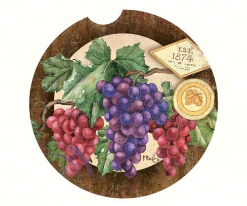 PURPLE-GREEN-GRAPES-1-Absorbent-Auto-Car-Stone-Coaster-for-Cup-Holders-USa