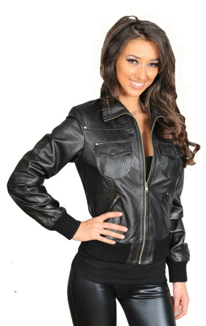 ace54e117ac Womens Black Leather Bomber Jacket Designer Slim Fit Zip Up Casual Blouson  COAT